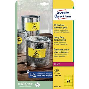 BX480 Avery L6131 velmi odolné etikety 70 x 37 mm, žluté