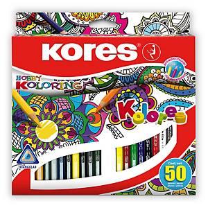 Trojhranné pastelky Kores Mandalas, 50 ks/balenie