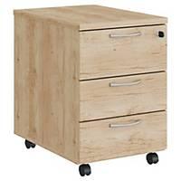 Caisson mobile en bois Buronomic Leo - 3 tiroirs - chêne Nebraska