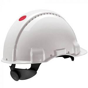 3M G3000 veiligheidshelm, wit, met draaiknop