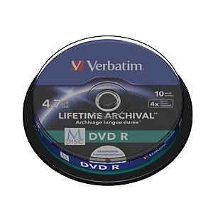 Verbatim M-Disc DVDr4X Spindle 4.7Gb - Pack of 10