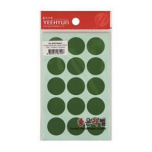 예현 좋은라벨 3000 원형스티커 25mm 녹색 7장