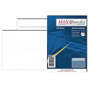 Briefumschläge C6, ohne Fenster, Selbstklebung, 75g, weiß, 100 Stück