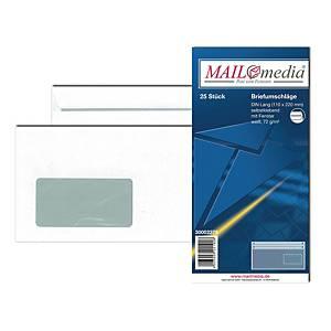 Briefumschläge DIN lang, mit Fenster, Selbstklebung, 75g, weiß, 25 Stück