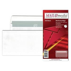 Briefumschläge DIN lang, ohne Fenster, Haftklebung, 80g, weiß, 100 Stück
