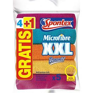 Spontex Economic XXL mikroszálas törlő, vegyes színű, 5 darab/csomag