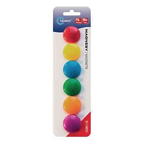 Magnesy do tablic, średnica: 30 mm, mix kolorów, 6 sztuk