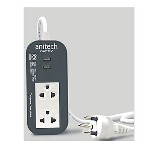 ANITECH H622-GY EXTENSION CABLE 2SOCKETS NO SWITCH WITH 2USB 2 METERS GRAY