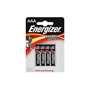 Energizer Alkaline Power Batterien, AAA/LR03, Alkaline, Packung mit 4 Stück
