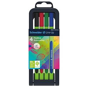 Schneider Line-Up fineliner, fijn, assorti kleuren, pak van 4 fineliners