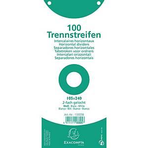 Trennstreifen 24 x 10,5cm (B x L), weiß, 100 Stück