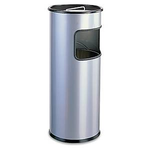 Durable Silver Metal Ashtray/Waste Bin - 2/17 Litre Capacity