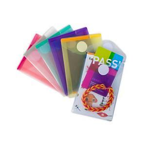 Tarifold PP enveloppe, A7, klittenbandsluiting, transparant assorti, per 6 stuks