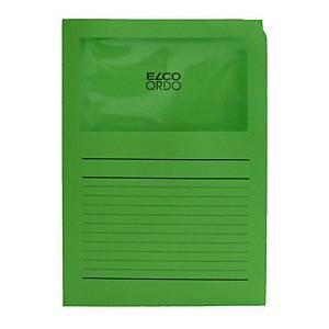 Chemise coin Elco 420504 Ordo Classico à fenêtre, A4, papier, verte, 100x