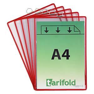 Pochette Tarifold 154503 A4, avec œillet de fix. métallique, rge, 5unités