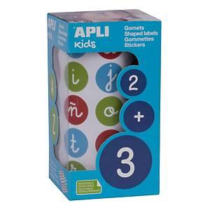 Rollo de gomets de letras minúsculas Apli - 20 mm - multicolor