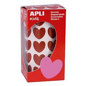 Rollo de gomets de corazón Apli - 20 x 18 mm - rojo