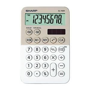 SHARP EL760R pocket calculator, latte-white