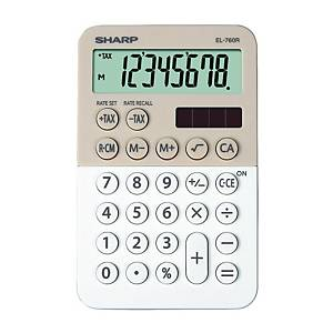 Sharp EL760R zsebszámológép, 8 számjegyű kijelző, latte-fehér