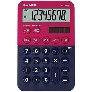 SHARP EL760R pocket calculator, red/blue