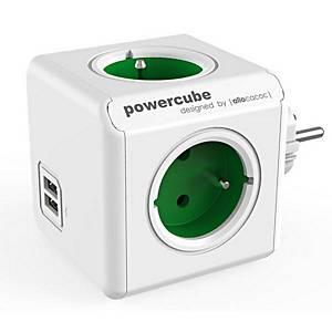 ALLOCACOC POWERCUBE rozbočovacia zásuvka, zelená