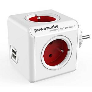 Rozbočovacia zásuvka Allocacoc PowerCube, 4 zásuvky, 2 USB porty, červená
