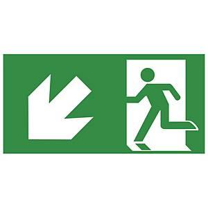Rettungszeichen Gloria Rettungsweg links unten, 15x30cm, grün/weiß