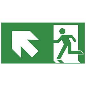 Rettungszeichen Gloria Rettungsweg links oben, 15x30cm, grün/weiß
