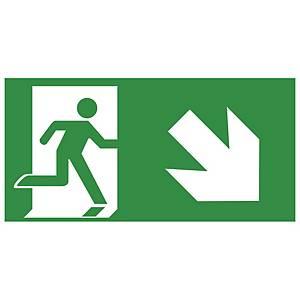 Rettungszeichen Gloria Rettungsweg rechts unten, 15x30cm, grün/weiß