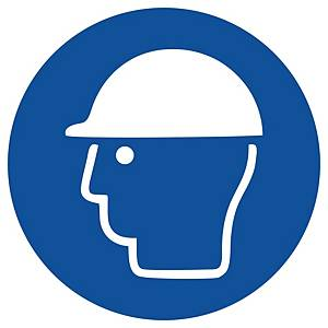 Gebotszeichen Gloria Kopfschutz, rund, Durchmesser 200mm, blau/weiß