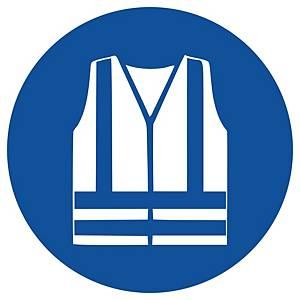 Gebotszeichen Gloria Warnweste, rund, Durchmesser 200mm, blau/weiß