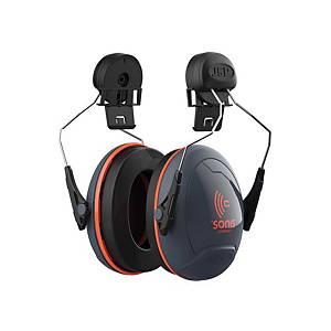 Casque antibruit JSP Sonis™ Compact 2 pour casque, SNR 31 dB, noir/orange