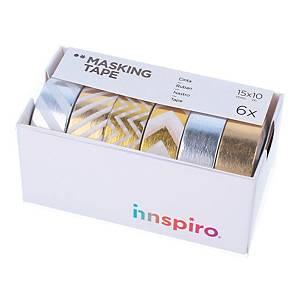 Pack de 6 cintas masking tape de metal Innspiro