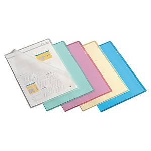Dossiers transparents Lyreco A4, PP, bleu, paq. 100unités