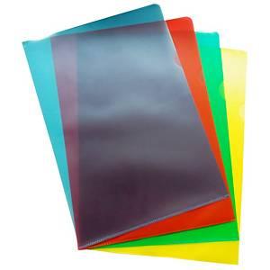 Dossiers transparents Lyreco A4, PP, assort., paq. 100unités