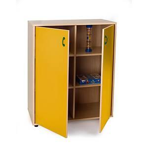 Mueble intermedio con armario y casillero Mobeduc - amarillo