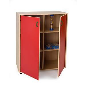 Mueble medio armario de 6 casillas MOBEDUC puertas rojo