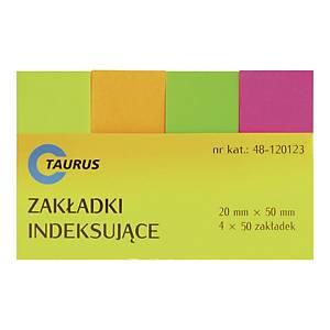 Zakładki indeksujące TAURUS 20 x 50 mm, 4 x 50 zakładek