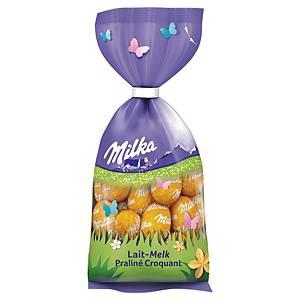 Oeufs de Pâques Milka, chocolat au lait fourré de praliné croustillant, 100 g