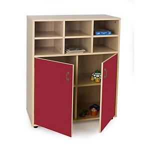 Mueble intermedio con armario de 6 casillas Mobeduc - rojo