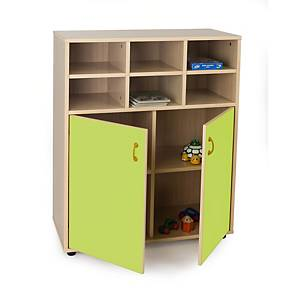 Mueble intermedio con armario de 6 casillas Mobeduc - verde