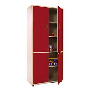 Mueble alto con armario de 4 puertas Mobeduc - rojo