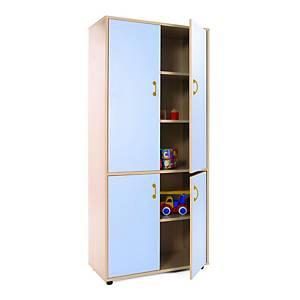 Mueble alto armario MOBEDUC 4 puertas color azul