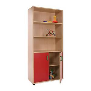 Mueble alto con armario y estantería Mobeduc - rojo
