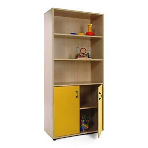 Mueble alto con armario y estantería Mobeduc - amarillo