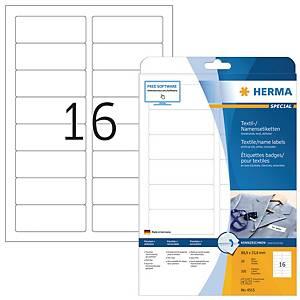 Badge textile autocollants Herma 4515, 88,9 x 33,8 mm, blanc, les 320 badges