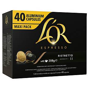 L OR COFFEE CAPSULES RISTRETTO PACK OF 40