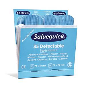 Plåster Salvequick 35 Blue Detectable, förp. med 6 set
