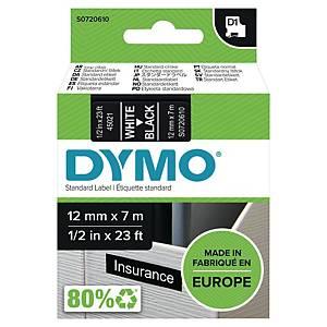 Ruban pour étiquettes Dymo 45021 D1, ruban adhésif, 12 mm, blanc sur noir