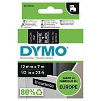 Dymo D1 Labels, White Print On Black, 12mm X 7M